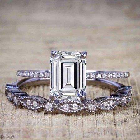 Black And Gold Wedding (Artdeco 1.25 Carat emerald cut Moissanite and Diamond Wedding Bridal Ring Set in Black)