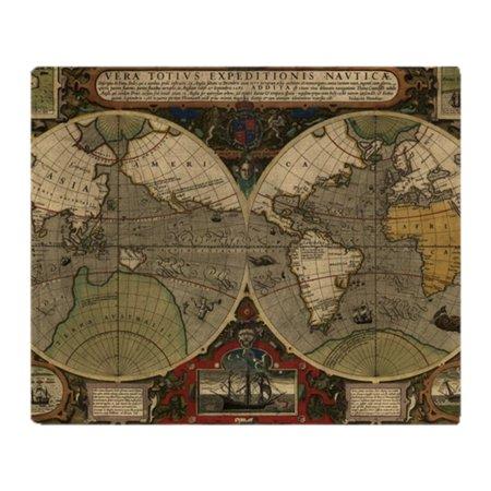 Cafepress vintage old world map 1595 soft fleece throw blanket cafepress vintage old world map 1595 soft fleece throw blanket 50 gumiabroncs Choice Image