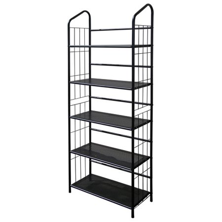 Metal Grid 5 Shelf Open Bookcase Black