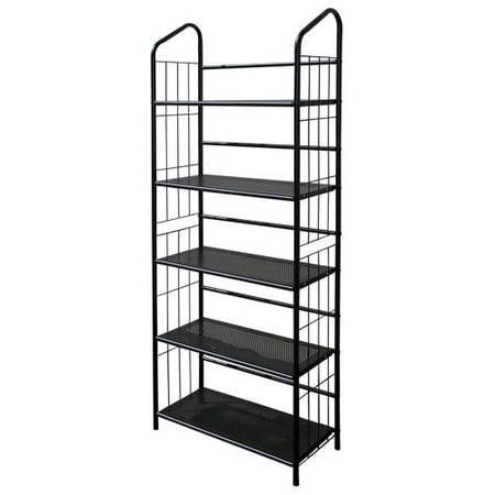 Metal Grid 5-Shelf Open Bookcase, Black