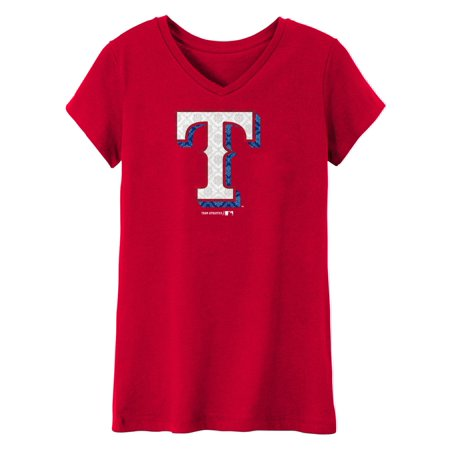MLB Texas RANGERS TEE Short Sleeve Girls 50% Cotton 50% Polyester Team Color 7 - 16
