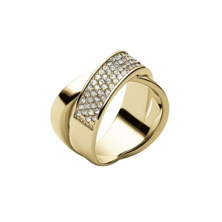 Michael Kors Gold Pvd Criss Cross Pave Ring Size 7 Mkj28677107 Msrp 95