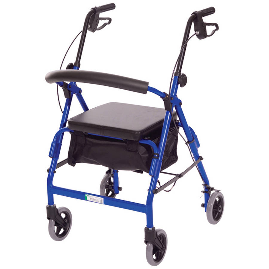 Essential Medical Supply Featherlight Four Wheel Walker with Loop Hand Brakes in Blue