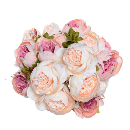 Coolmade Fake Flowers Vintage Artificial Peony Silk Flowers Wedding Home Decoration,Pack of 2 (Light Pink) - Fake Pink Flowers
