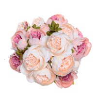 Product Image Coolmade Fake Flowers Vintage Artificial Peony Silk Flowers Wedding Home Decoration,Pack of 2 (