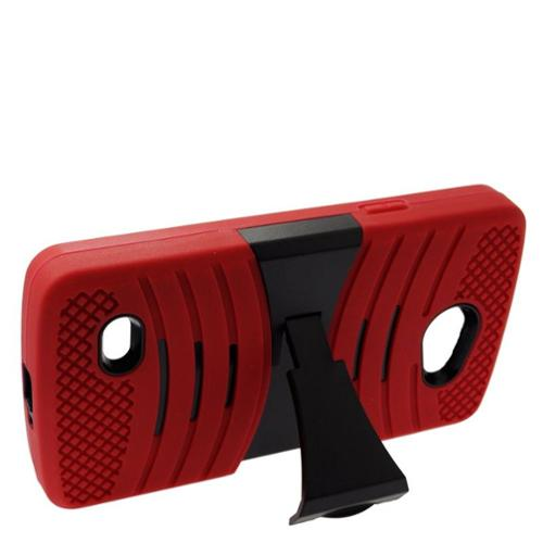 Insten Wave Symbiosis Skin Dual Layer Rubber Hard Stand Case For LG Lancet - Red/Black