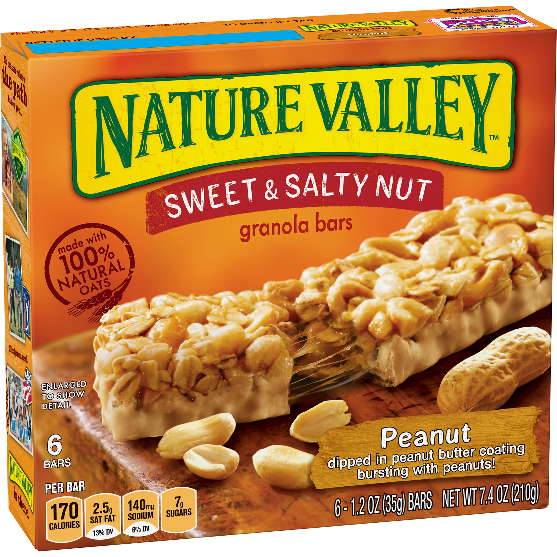 Nature Valley Granola Bars Sweet and Salty Nut Peanut 6 Bars - 1.2 oz