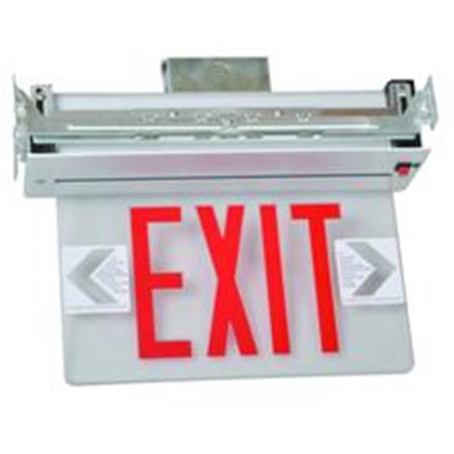Morris Products 73331 Recessed Mount Edge Lit Led Exit Signs Red On Clear Panel White Housing