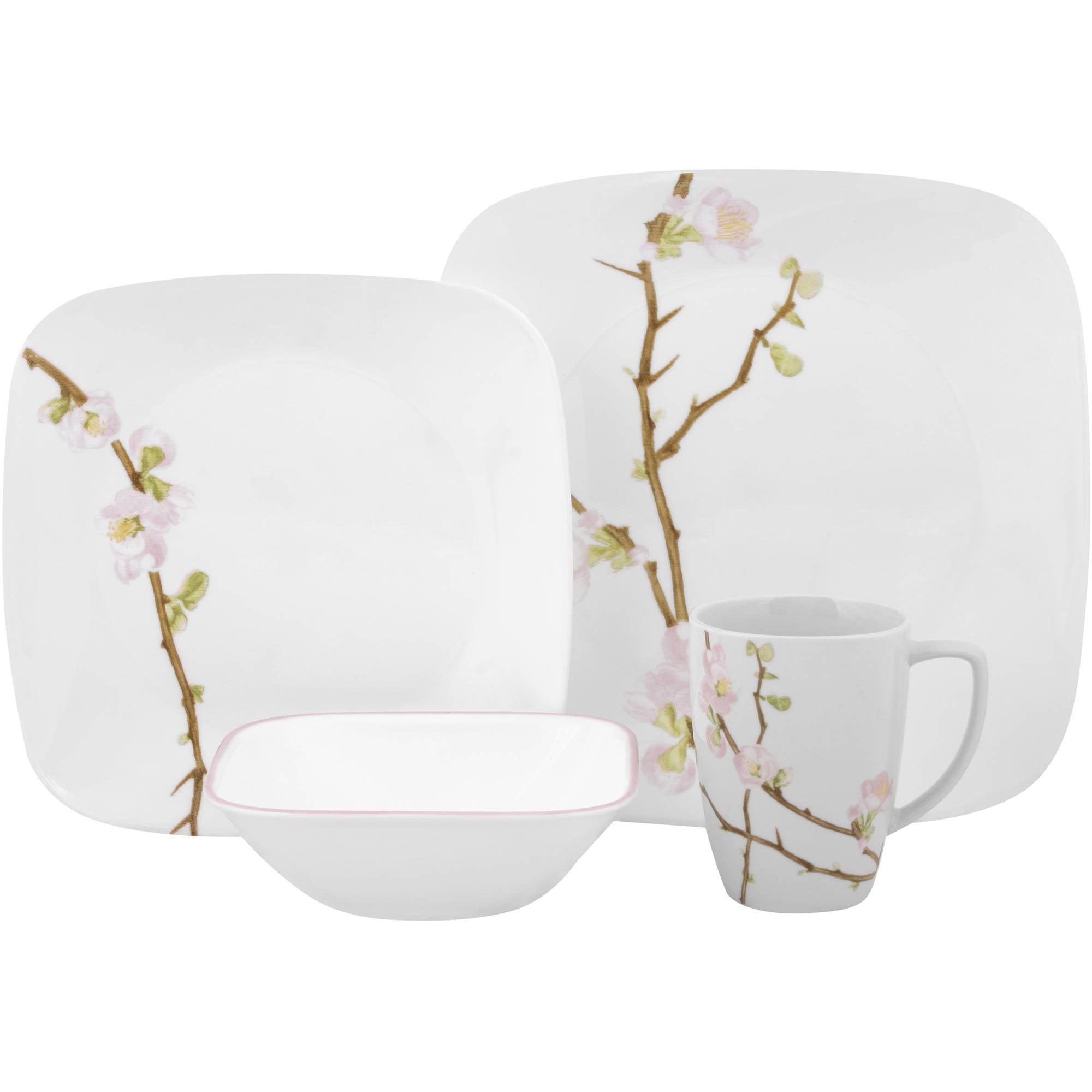 Corelle Square Round 16-Piece Dinnerware Set Cherry Blossom - Walmart.com  sc 1 st  Walmart & Corelle Square Round 16-Piece Dinnerware Set Cherry Blossom ...