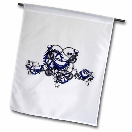 3dRose Steampunk Blue Steel Hearts Cogs Gears Printed Design - Garden Flag, 12 by - Flag Gear