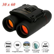 30x60 Day Low Light Night Visible Binoculars Mini Pocket Binoculars Foldable Waterproof Small Telescope with Carry Bag for Kids Adults Travel Birthday Christmas Gift