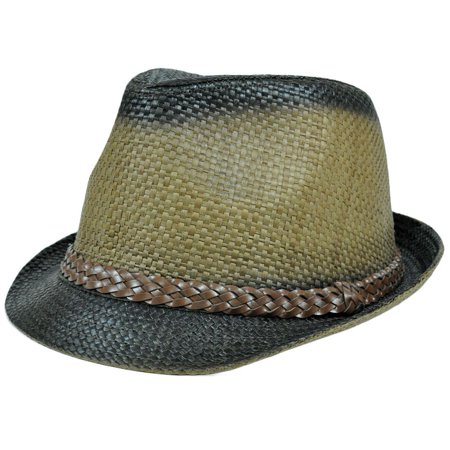 Woven Paper Faux Leather Braid Belt Fedora Trilby Hat Small Medium FD-154 Brown
