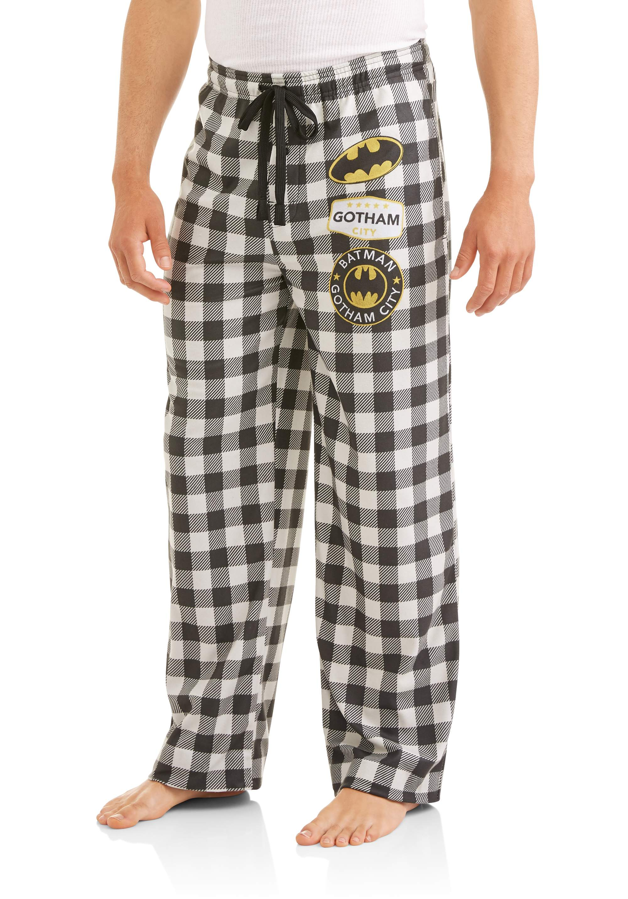 DC Comics Batman Gotham City Mens Big and Tall Flannel Buffalo Plaid Pajama Lounge Pants