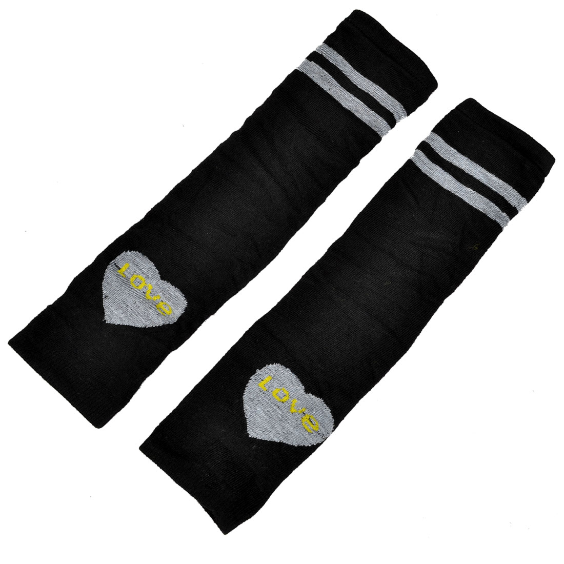 Stretchy Fingerless Stripe Heart Print Long Arm Warmers Elbow Gloves Pair Black