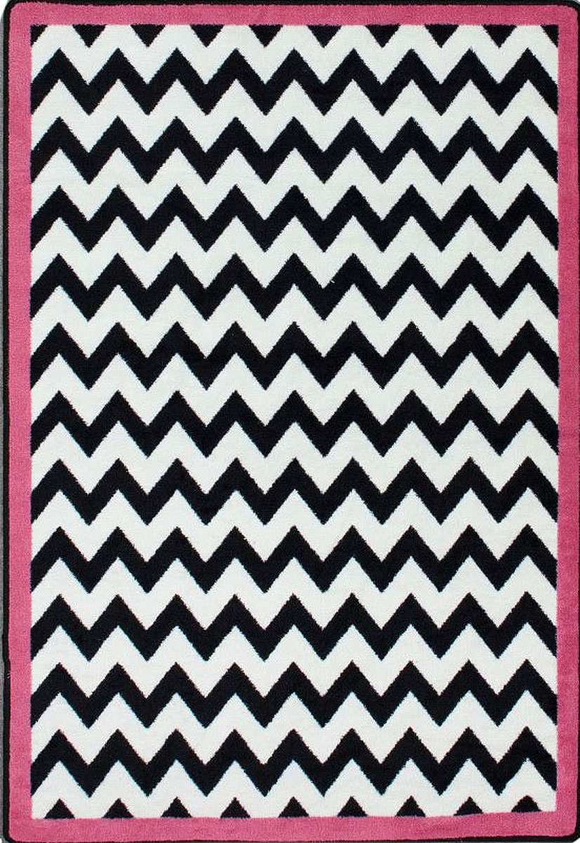 Milliken Black White Area Rugs Contemporary Pink Bordered