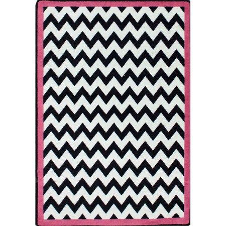 Milliken Black White Area Rugs Contemporary Pink Bordered Chevron Zig Zag Stripes Rug