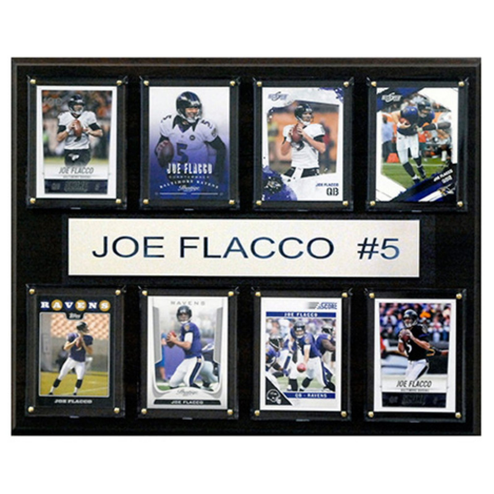 C and I Collectables NFL 15W x 12H in. Joe Flacco Carolina Panthers 8 Card Plaque