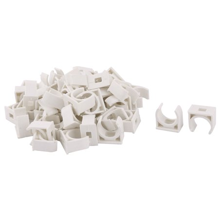 Home PVC U Shaped Water Supply Pipe Holder Stand Clamps White 20mm Dia 50pcs