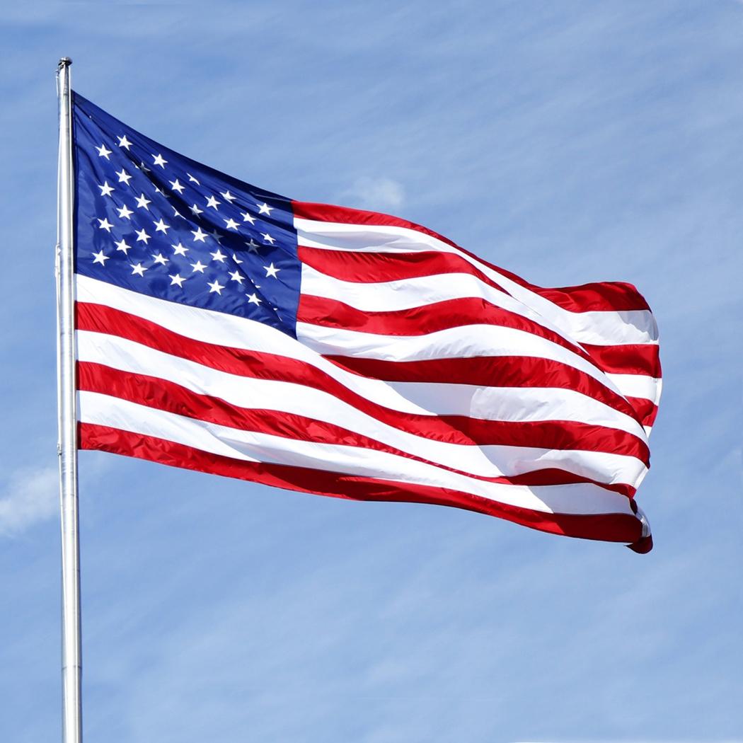 US Flag Sewn Stripes Embroidered Stars Brass Grommets American United States Flag USA U.S.