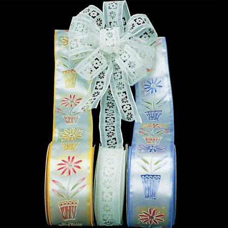 Light Blue Satin Potted Flower Print Wire Craft Ribbon 2.5