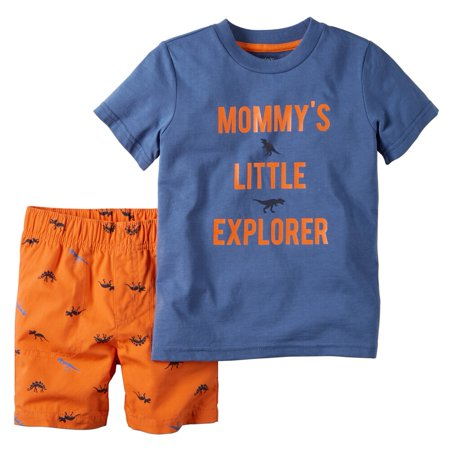 Carters Baby Clothing Outfit Boys 2-Piece Tee & Short Set Little Explorer Blue