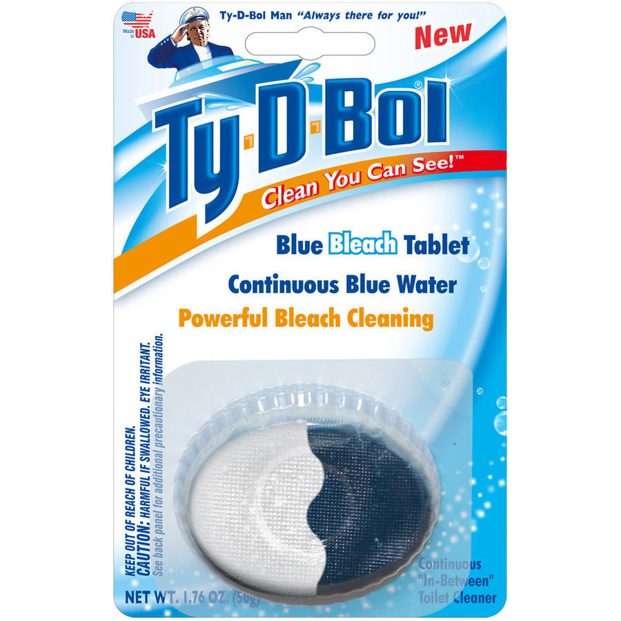 Ty-D-Bol Blue Bleach Toilet Bowl Cleaner Tablet, 1.76 oz, (Pack of 6)