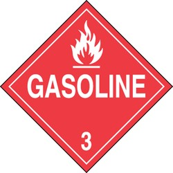 "Accuform MPL304CT25 Shipping Labels & Placards DOT Placards GASOLINE (W/GRAPHIC) 10 3/4"" x 10 3/4"" PF-Cardstock 25 PK"