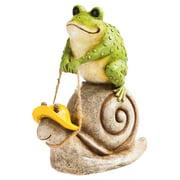 Evergreen Enterprises Riding The Snail Frog Garden Statue