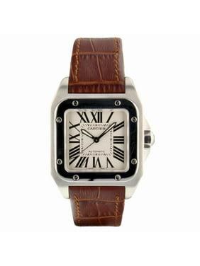 Pre-Owned Cartier Santos 100 W20106X8 Steel Women Watch (Certified Authentic & Warranty)