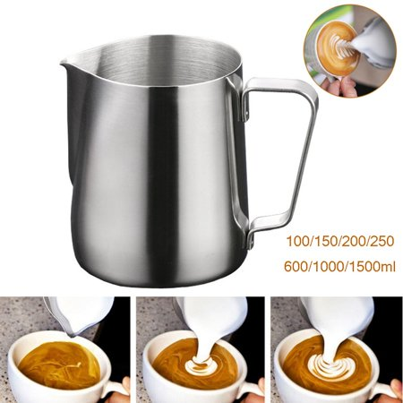 Milk Frothing Pitcher Jug for Latte Art, Stainless Steel Espresso Steaming Pitcher, Coffee Creamer Frothing Cup (Small Milk Steam Pitcher)