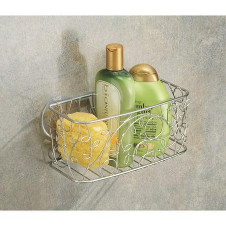 InterDesign Twigz Silver Suction Shower Basket Bath Caddy