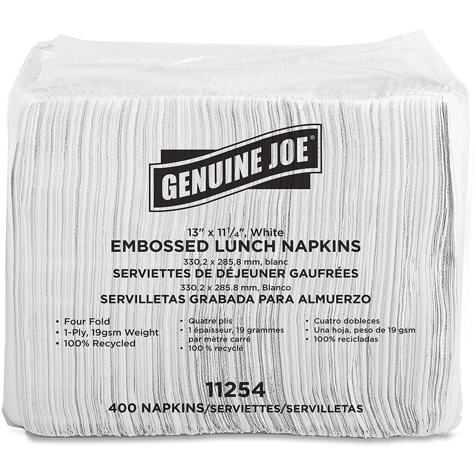 Genuine Joe Embossed Lunch Napkins, 400 count, (Pack of 6)