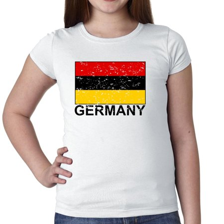 Germany Flag - Special Vintage Edition Girl's Cotton Youth T-Shirt Little German Girl