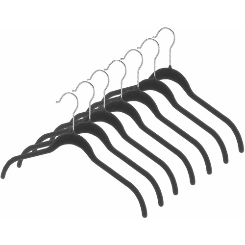 Whitmor Manufacturing 6478-1622-7-BLK Black Flocked Plastic Spacemaker Suit Hangers 7 Count