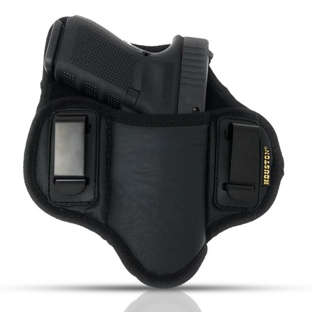 Tactical Pancake Gun Holster Houston - ECO Leather Concealed Carry Soft Material | Suede Interior for Protection | IWB | Right Hand | Fit: Glock 19 17 20 21 22 23 | Beretta 92 FS, PX4, XDM, HK USP,