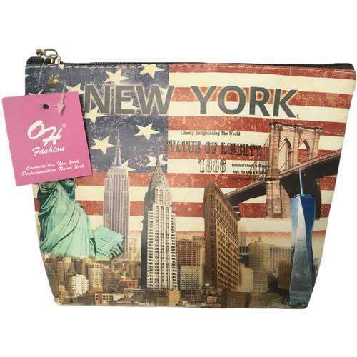 OH Fashion Travel Cosmetic Bag Makeup case organizer toiletry bag New York medium size handbag 1pc