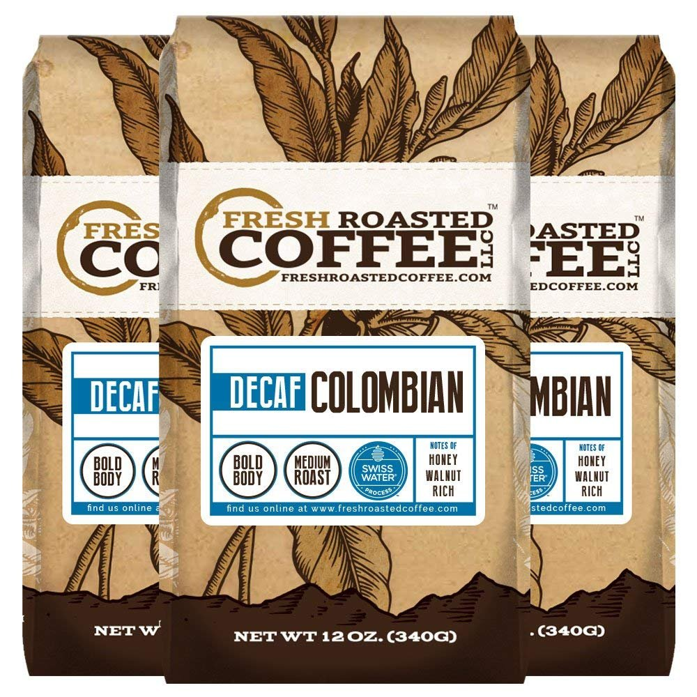 100% Colombian SWP Decaf Coffee, Fresh Roasted Coffee LLC. (12 oz. 3pk Whole Bean)