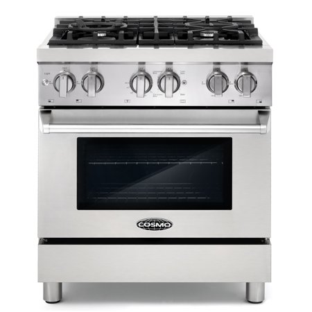 Cosmo Commercial-Style 30 in. 3.9 cu. ft. Dual Fuel Range with 4 Italian Burners Cast Iron Grates and 4 Function Electric Oven