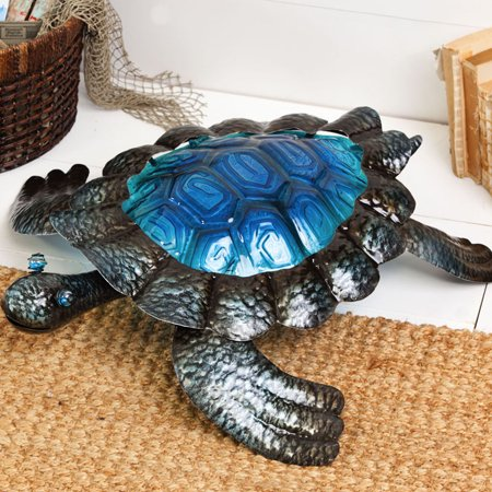 Metal and Glass Turtle Sculpture
