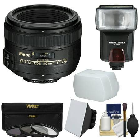 Nikon 50mm f/1.4G AF-S Nikkor Lens = 3 Filters + Flash & 2 Diffusers + Kit for D3200, D3300, D5300, D5500, D7100, D7200, D750, D810 Cameras ()