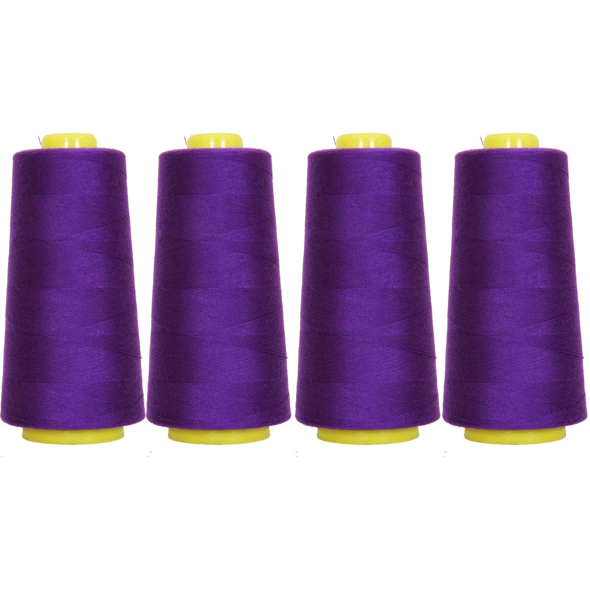 4 Cones Purple Serger Sewing Thread, 2750 Yd Cones, TEX 27 40S/2, Threadart