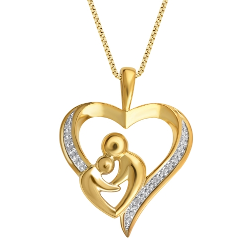 Gorgeous 0.03 Carat Diamond Mother & Child Heart Pendant Necklace In 18K Gold Plated