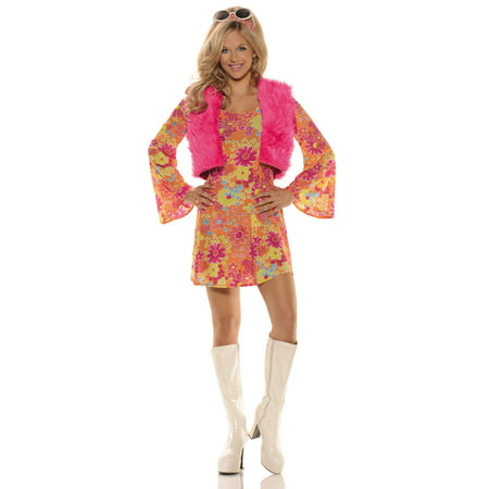 Pretty In Pink 70's Sexy Hippie Adult Womens Halloween Costume - 70's Womens Halloween Costume