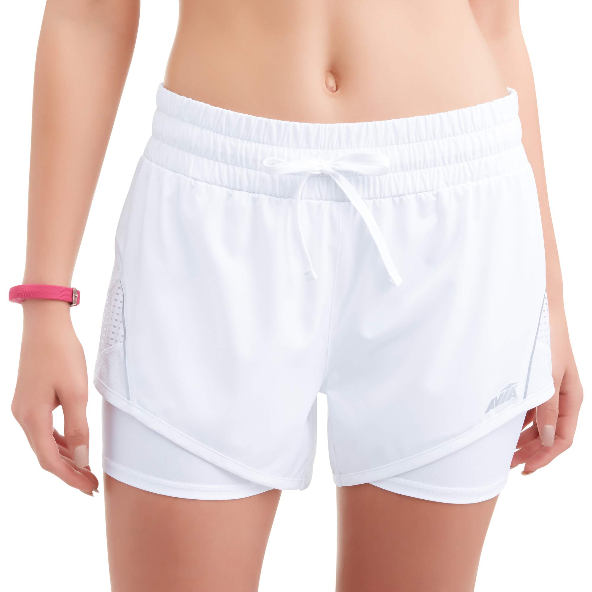Women's Active 2Fer Stretch Woven Running Short With Mesh Detail