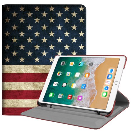 Fintie iPad Pro 10.5 Rotating Case - [Built-in Apple Pencil Holder] 360 Degree Rotating Stand Cover, US Flag