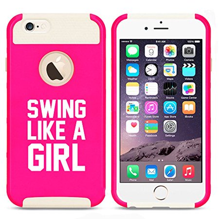 For Apple (iPhone 8) Shockproof Impact Hard Soft Case Cover Swing Like A Girl Golf Softball Kettlebell (Hot Pink-White)