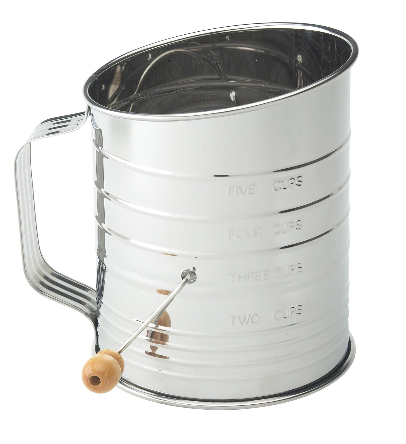 Mrs. Anderson's 5 Cup Crank Flour Sifter Baking Pastry Screen Stainless Steel