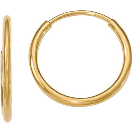 10kt Gold Polished Endless Tube Hoop Earrings