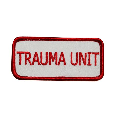 Trauma Unit Name Tag Patch Hospital Novelty Badge Embroidered Iron On Applique