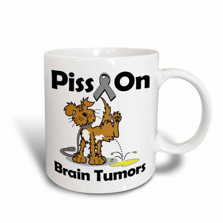 3dRose Piss On Brain Tumors Awareness Ribbon Cause Design, Ceramic Mug, 11-ounce - Brain Tumor Awareness Ribbon